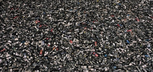 Discarded Cell Phones in a Garbage Dump